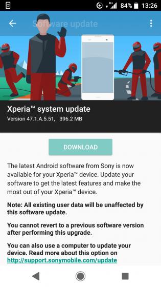 Sony Xperia XZ1 version 47.1.A.5.51 update